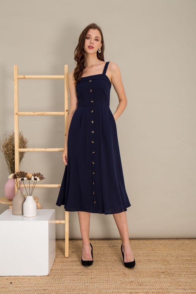 Loretta Button Flare Maxi Dress in Navy (L)