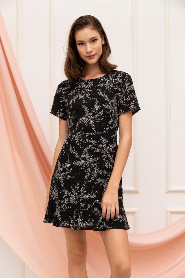 Junia Leaf Sheath Dress in Black (XS)