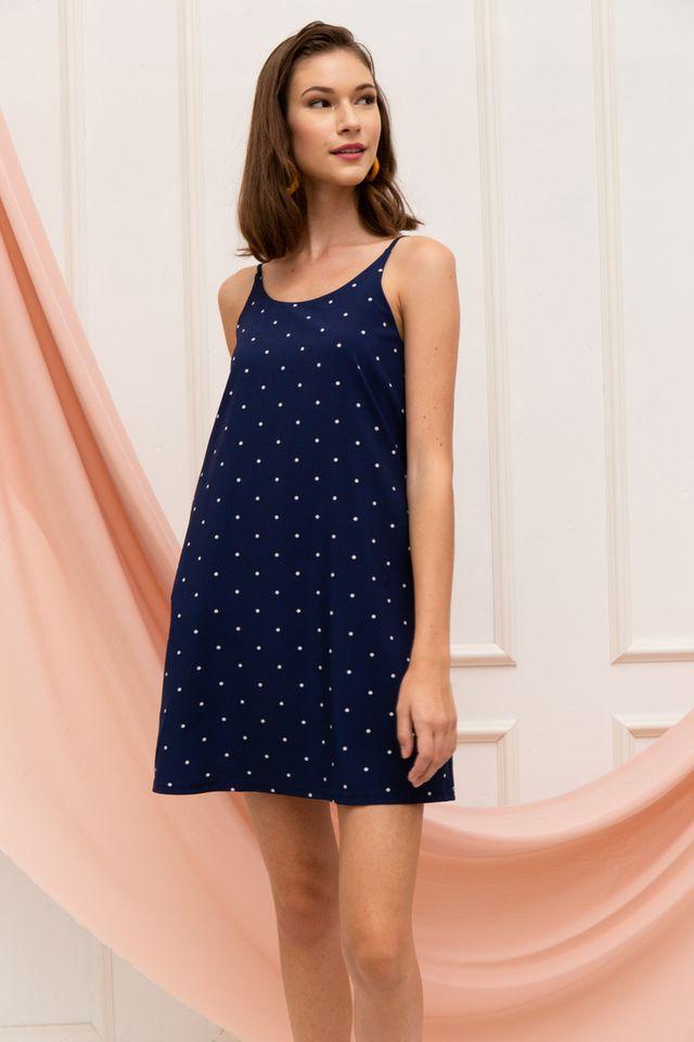 Mitzi Polka Dot Slip Dress in Navy