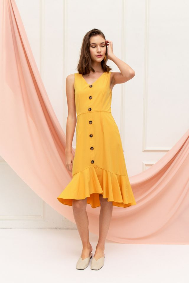 Chelsy Button Ruffles Midi Dress in Mustard