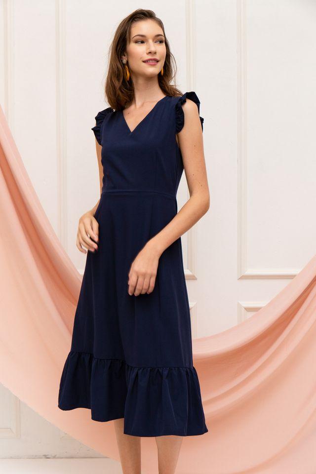 Cieon Ruffled Hem Midi Dress in Navy (XS)