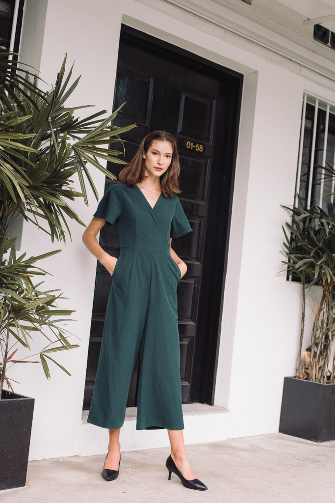 43f17009339 Elianore Faux Wrap Jumpsuit in Teal