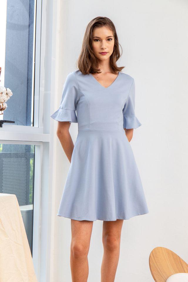 Verene Ruffled Sleeves Skater Dress in Sky Blue (XS)