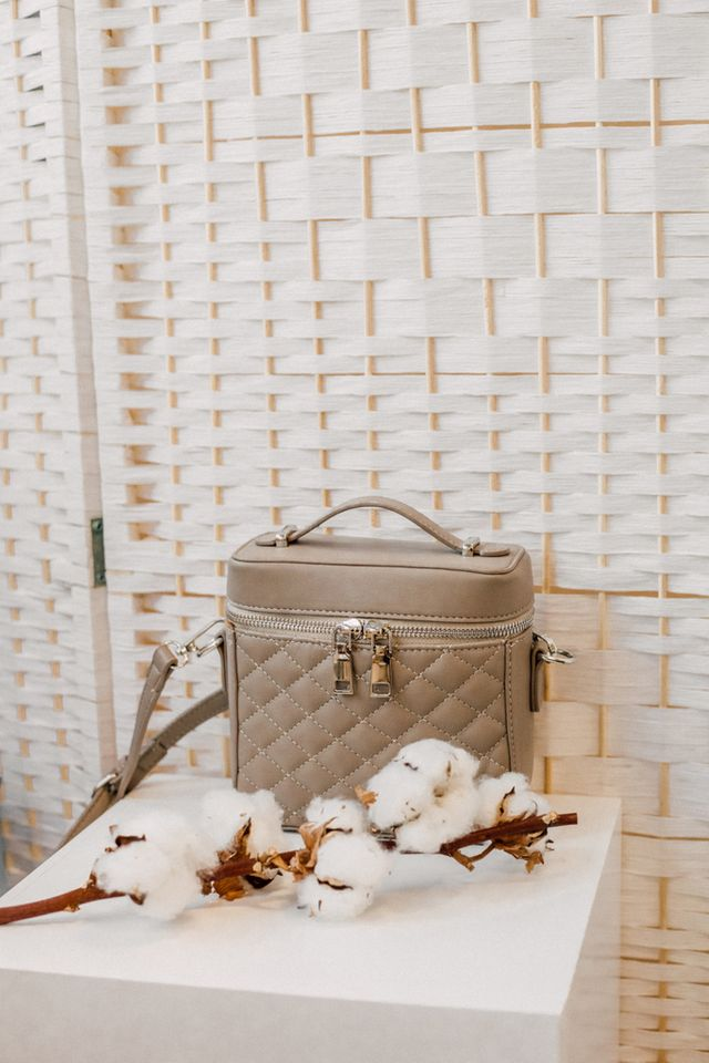 Alida Structured Quilted Bag in Clay
