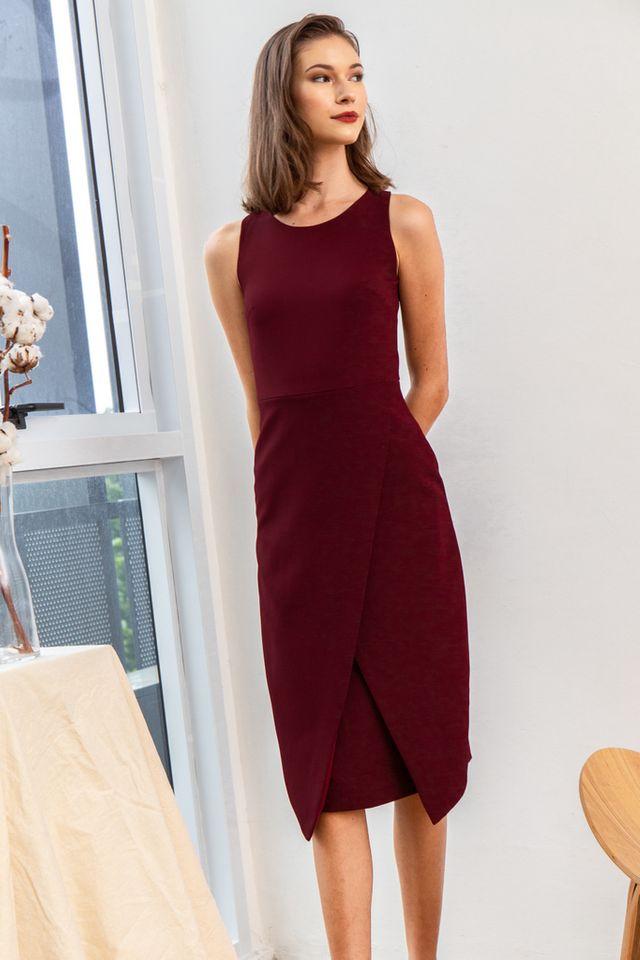 Allina Faux Wrap Midi Dress in Wine Red