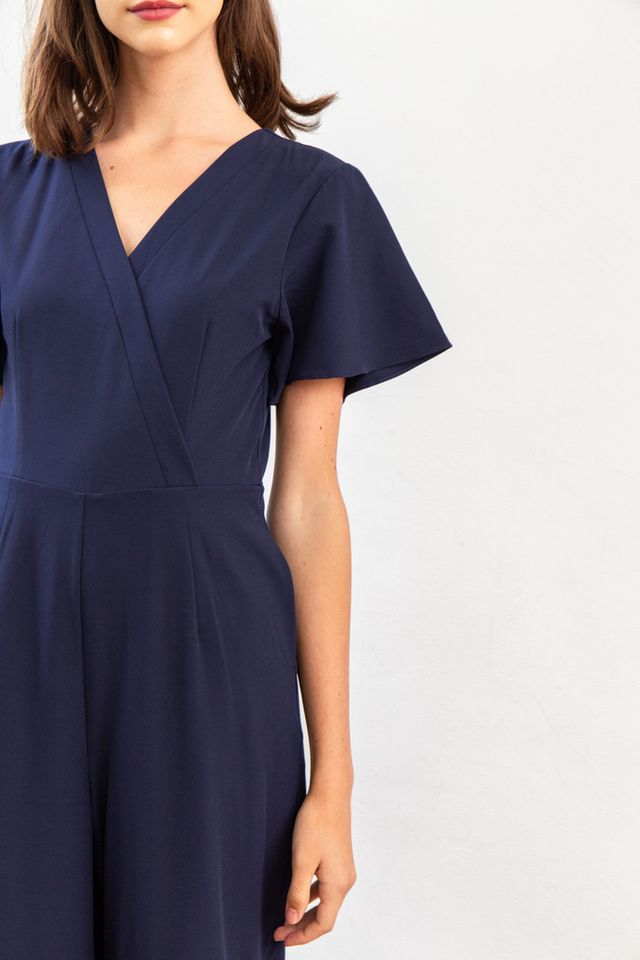 Elianore Faux Wrap Jumpsuit in Navy (XS)
