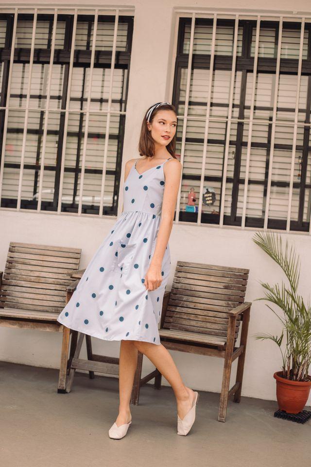 Audrea Polka Dot Midi Dress in Blue