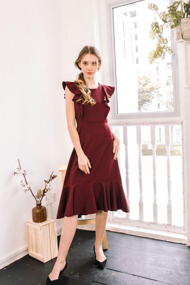 Cielle Ruffles Midi Dress in Burgundy (XS)