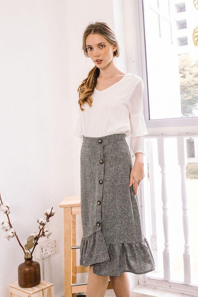Agata Tweed Midi Skirt in Grey (M)