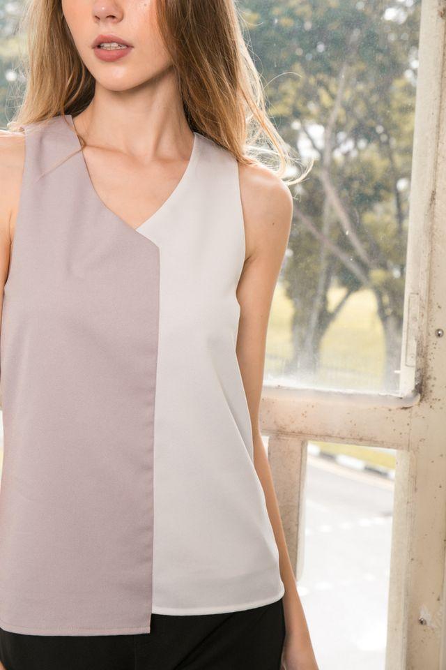 Ina Colourblock Top in Grey (XL)