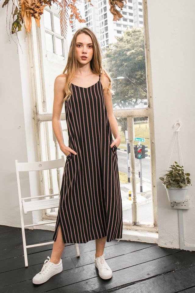 Tallie Striped Maxi Slip Dress in Black