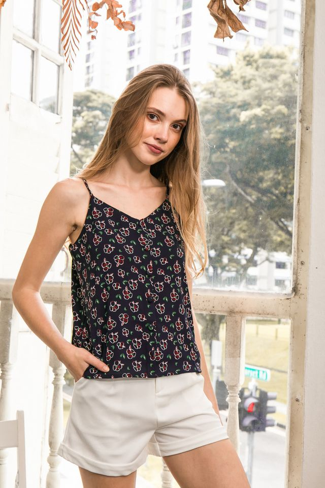 Ailsa Floral Button Top in Navy