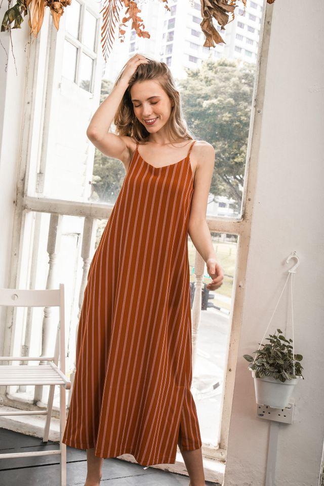 Tallie Striped Maxi Slip Dress in Caramel (L)