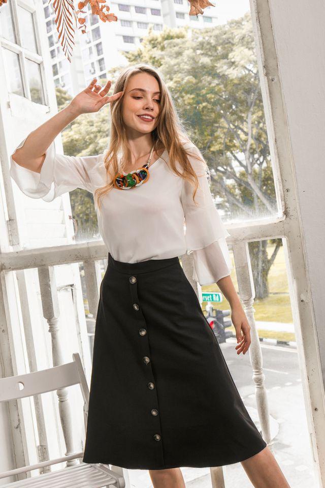 Ryth Button Midi Skirt in Black (XS)