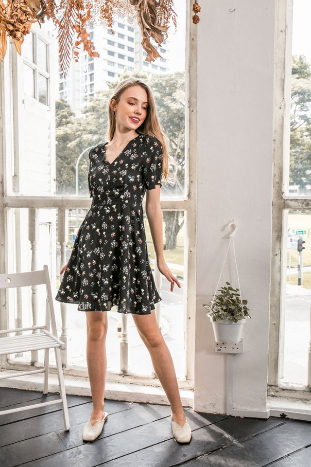 Arna Floral Skater Dress in Black (XS)
