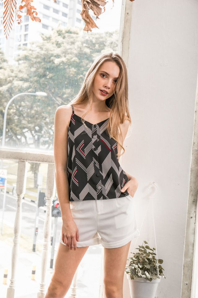 Zana Geometric Button Top in Black (L)