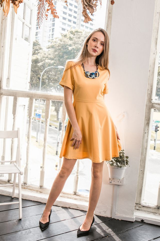 Charlee Folded Sleeve Skater Dress in Mustard (XS)