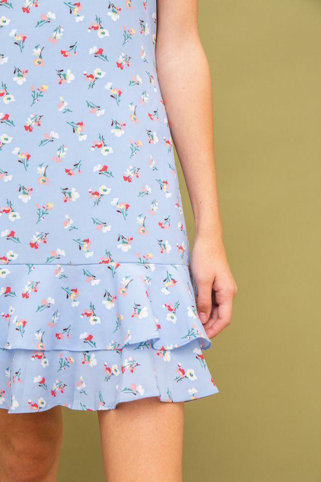 Kevi Floral Dropwaist Dress in Blue (XS)