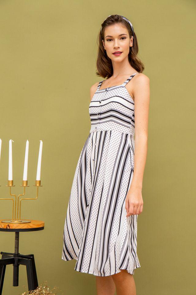 Tyn Stripe & Dots Midi Dress in White (L)