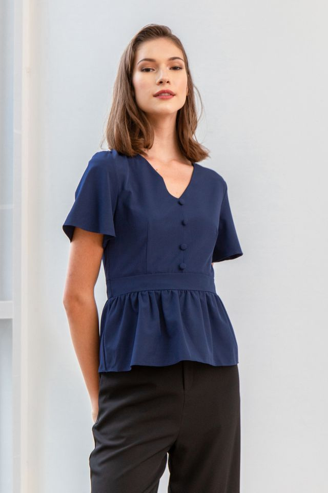 Meron Button Babydoll Top in Navy (XS)
