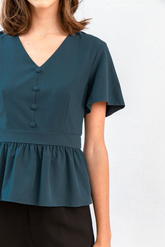 Meron Button Babydoll Top in Teal (XS)