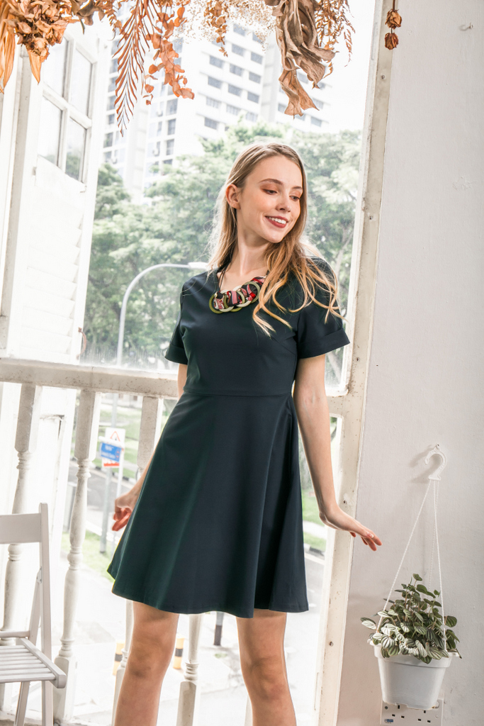1464fea5d7534 Charlee Folded Sleeve Skater Dress in Teal