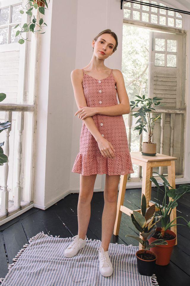 Claudette Eyelet Dropwaist Dress in Pink