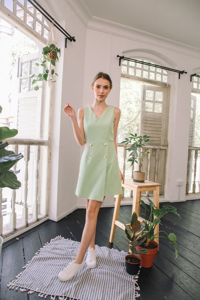 Kelsie Button Overlay Dress in Chartreuse