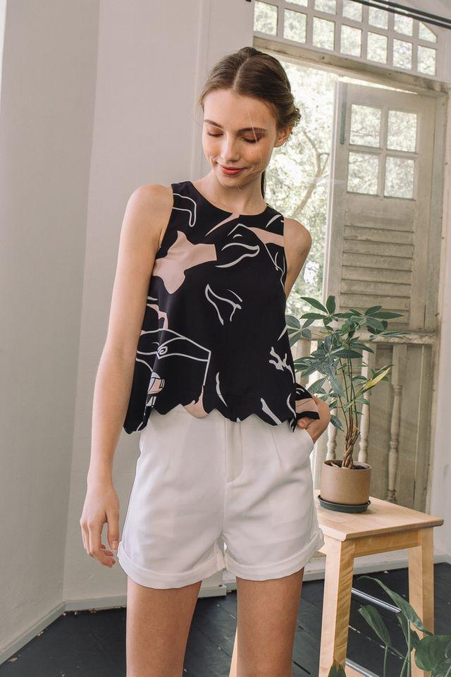 Doerene Basic Folded Shorts in White (XS)