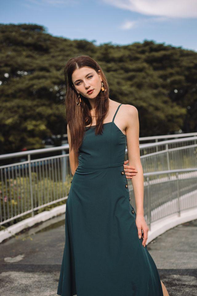 Laelia Side Button Midi Dress in Teal