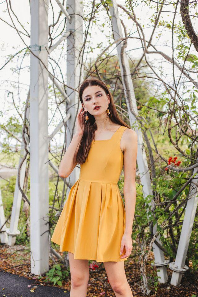 Liesel Pinafore Dress in Mustard (XL)