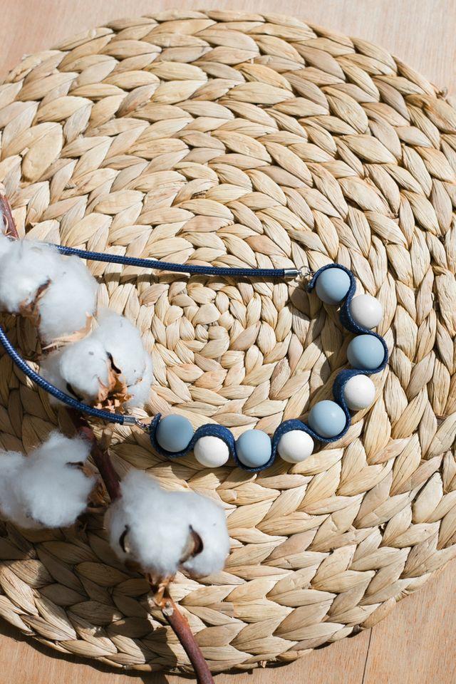 Solara Bead Necklace in Blue