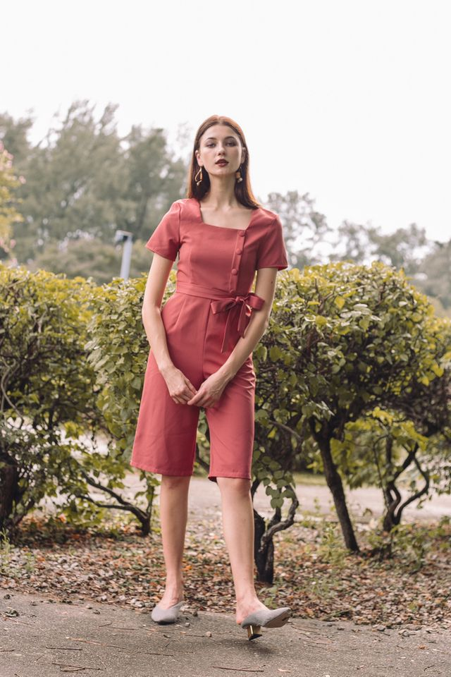 Cerys Button Square Neck Jumpsuit in Rouge (XS)