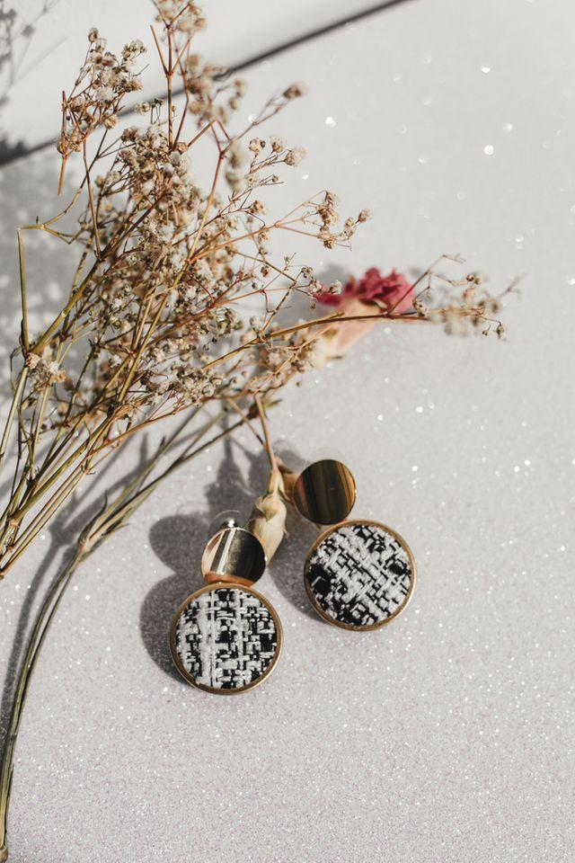 Jenai Fabric Stud Earrings in Black