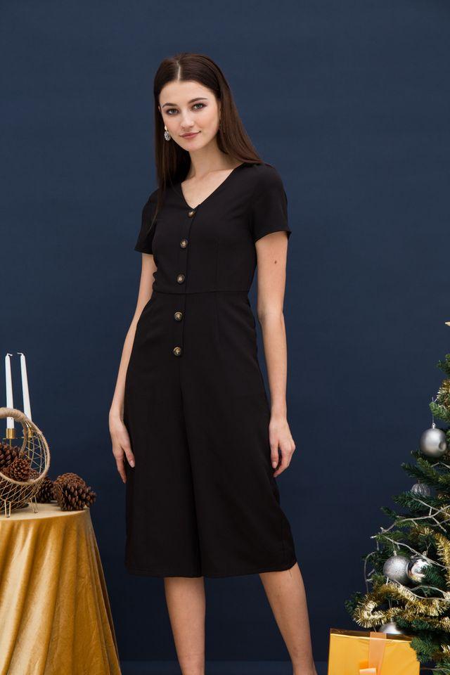 Rochella Button Jumpsuit in Black (XS)