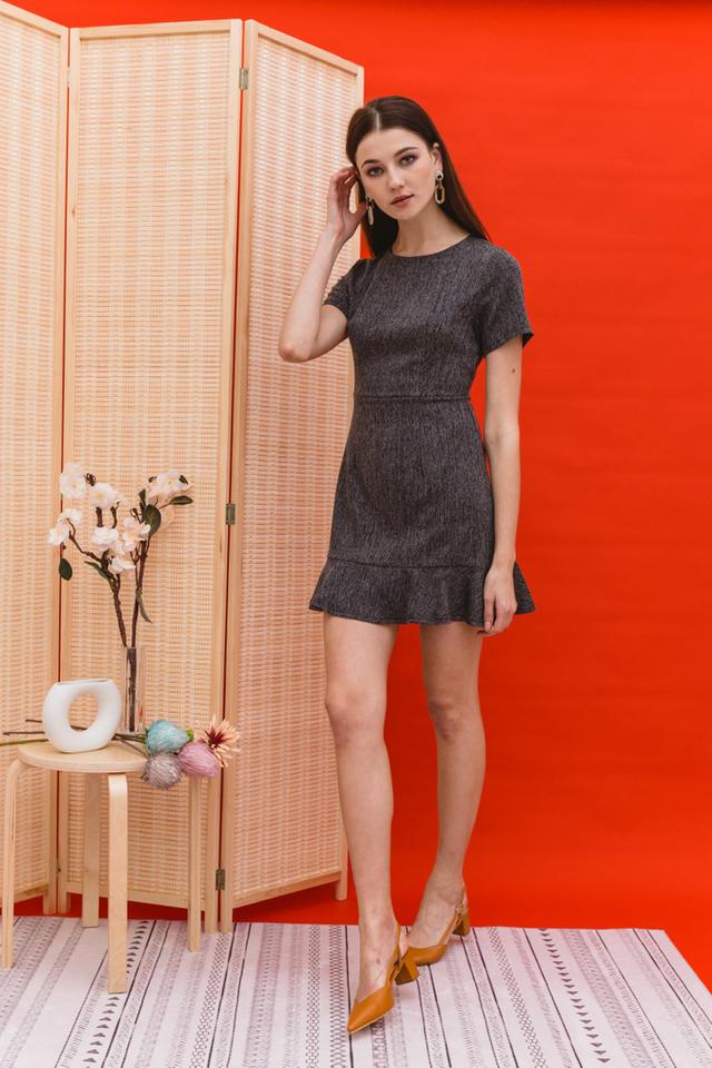Krysta Ruffles Sheath Dress in Black