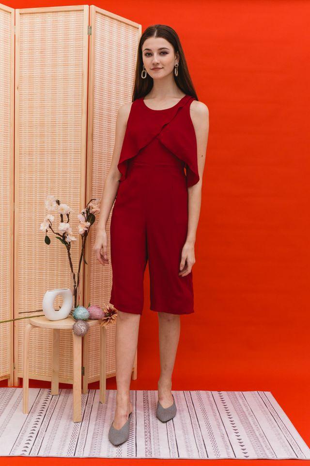 Tavia Asymmetrical Ruffles Jumpsuit in Red