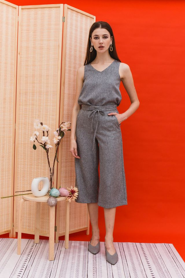 Rhona Stitched Flare Top in Grey (XL)
