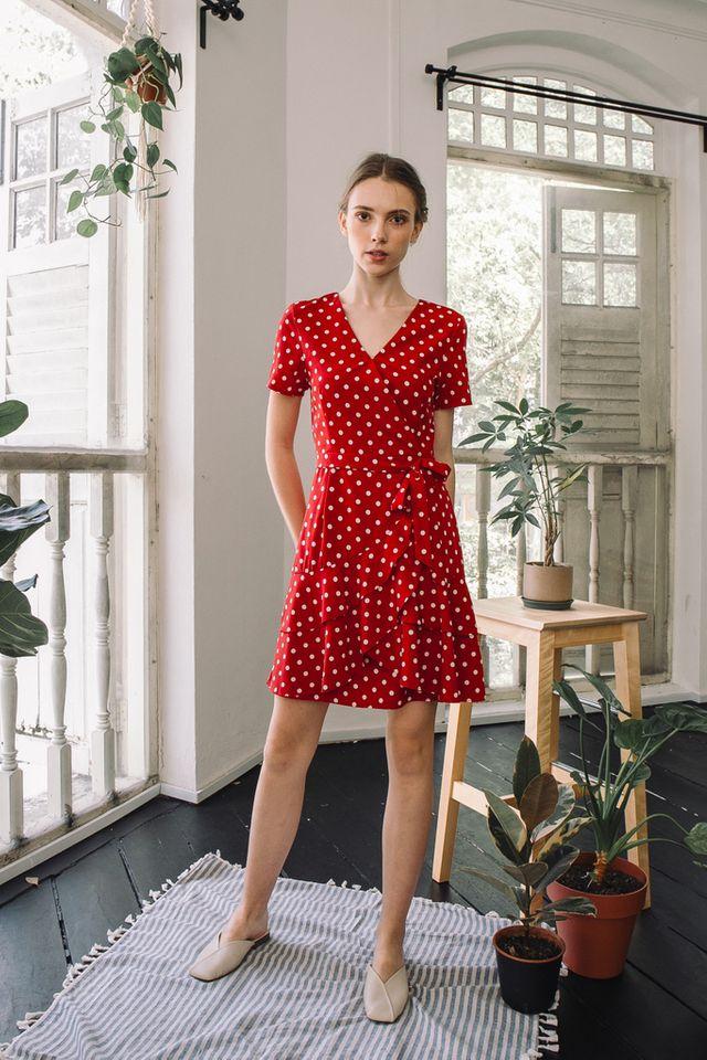 Trina Polka Dot Ruffles Dress in Red