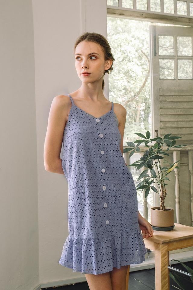 Claudette Eyelet Dropwaist Dress in Lilac (L)