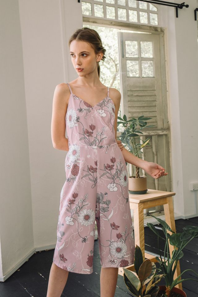 Alondra Floral Mid-Length Jumpsuit in Pink (L)