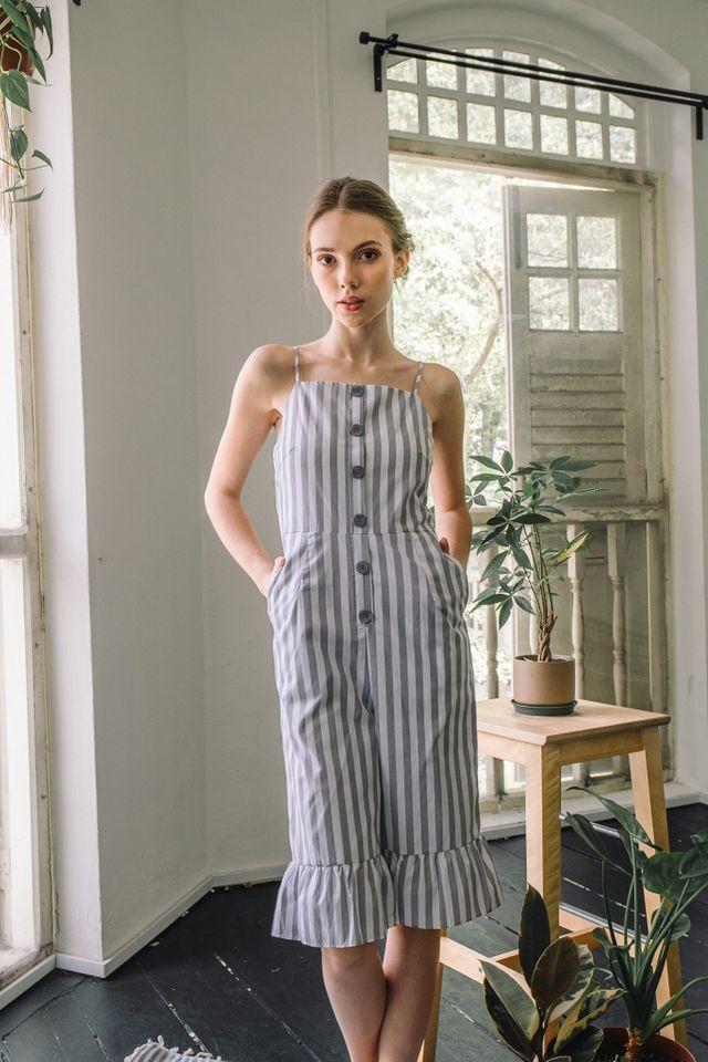 Amelie Striped Ruffles Jumpsuit in Grey