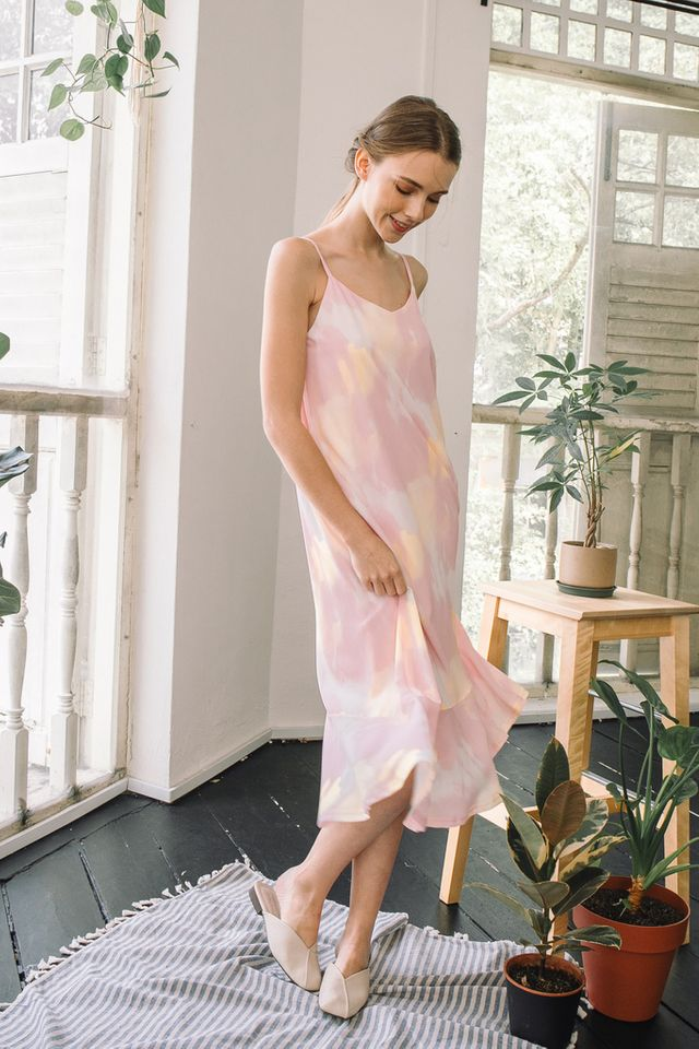 Maribel Watercolour Slip Dress in Pink (XS)