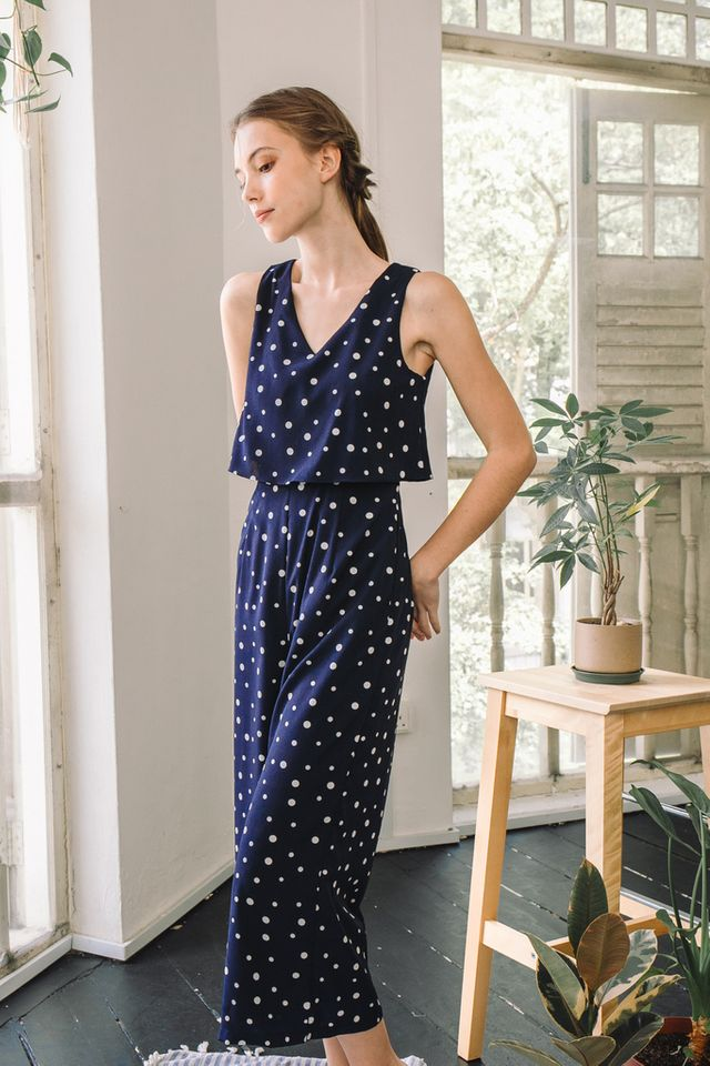 Emmy Polka Dot Layered Jumpsuit in Navy