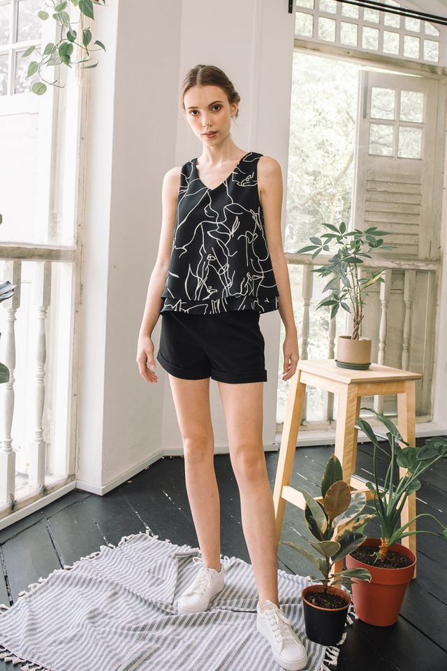 Ramona Abstract Layered Top in Black