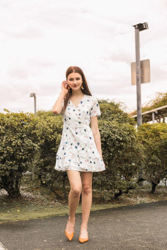 Emmeline Sweetheart Ruffles Dress in White