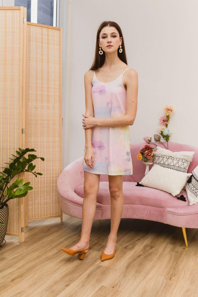 Tiera Watercolour Slip Dress in Pink (L)