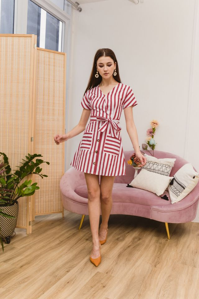 Athalia Striped Double Pocket Dress in Red (XS)