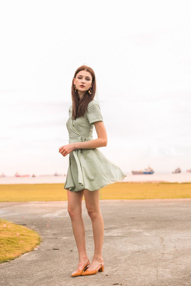 Kinsey Dotted Skater Dress in Mint (XS)