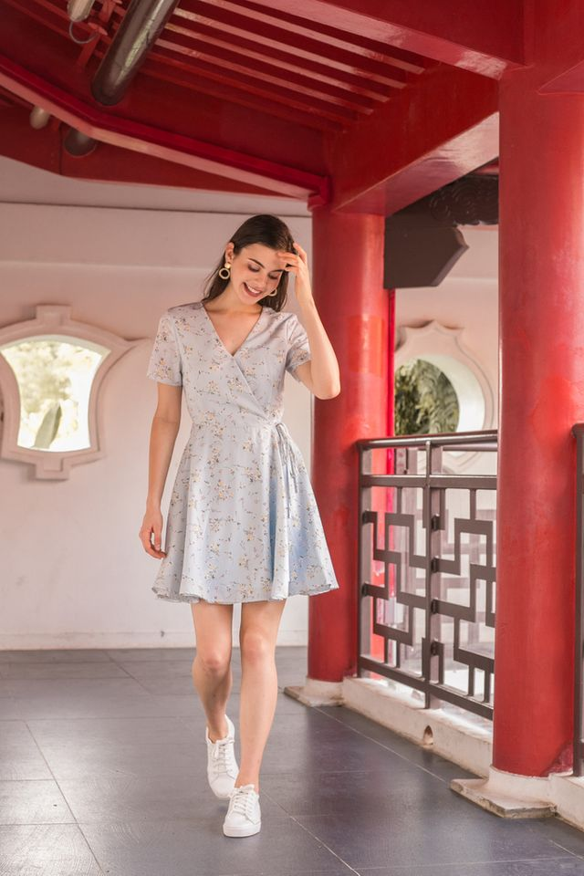Valentia Floral Skater Dress in Baby Blue (XS)